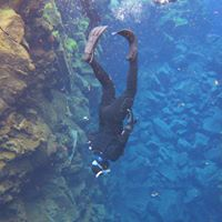 Me swimming between tectonic plates at Silfra