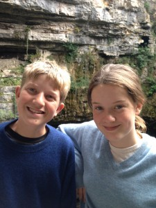 Olivia and her brother in the Gouffre de Padirac