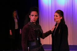 Leah Dutchin as Othello and Laura Frye as Iago. (Photo Queens Gazette)